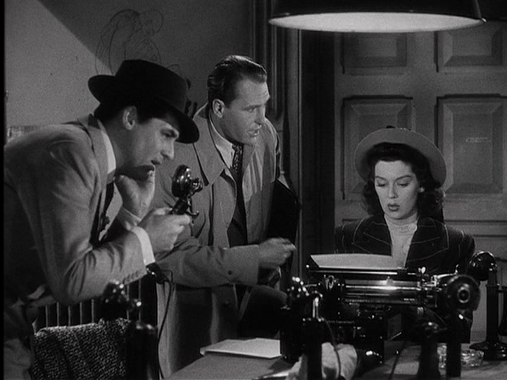 Cary Grant, Ralph Bellamy, Rosalind Russell in His Girl Friday