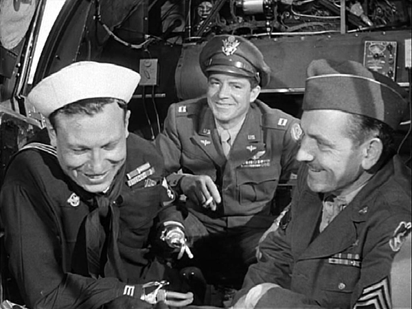 Harold Russell, Dana Andrews, Fredric March in The Best Years of Our Lives