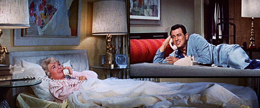 "Doris Day, Rock Hudson share a party line in ""Pillow Talk."""