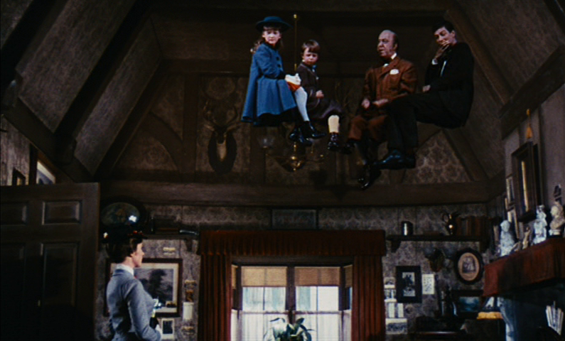 The Banks children float near the ceiling with Uncle Arthur and Bert.