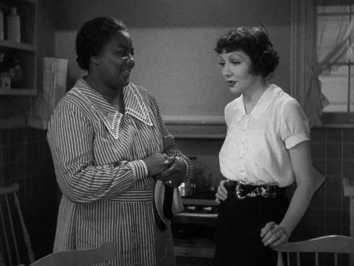 Delilah (Louise Beavers) pleads with Bea (Claudette Colbert) for a job and a home.