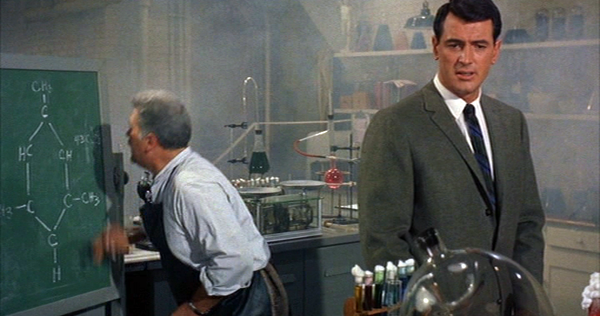 Rock Hudson in the lab of Dr. Linus Tyler, who is desperately trying to create Vip.