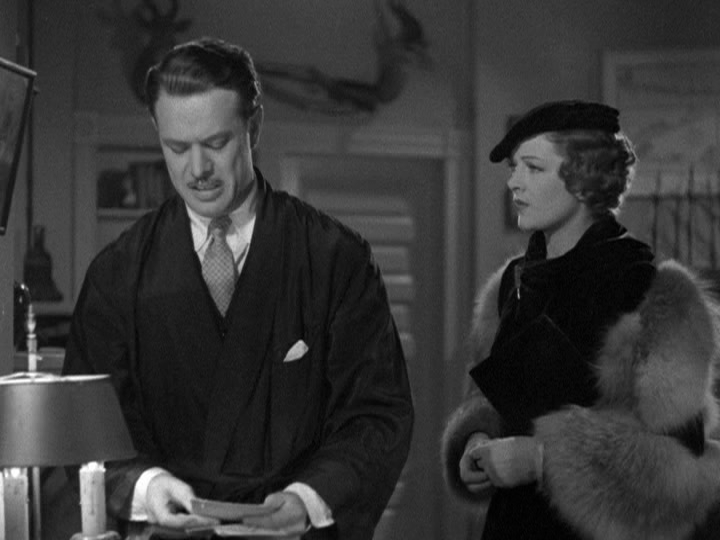 Harvey Stephens blackmails Myrna Loy in Evelyn Prentice.