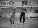 Ginger Rogers and Fred Astaire dance on a Navy ship.