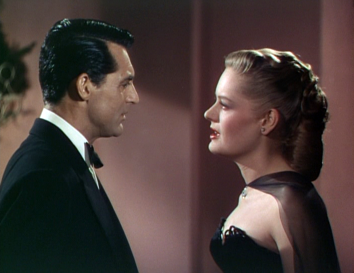 "Cole Porter (Cary Grant) and Linda Lee Porter (Alexis Smith) discuss their marriage in ""Night and Day."""