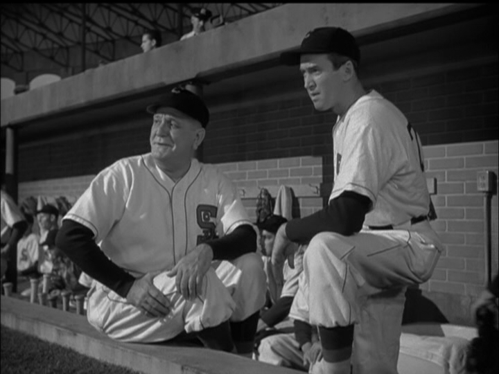 Frank Morgan, James Stewart wait for the opportunity to pitch in The Stratton Story