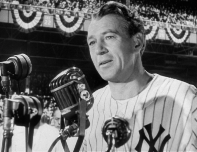 Gary Cooper as Lou Gehrig addresses a cheering crowd at Yankee Stadium in The Pride of the Yankees.