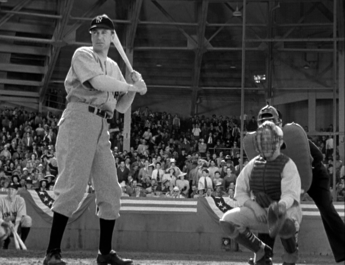 Gary Cooper as Lou Gehrig is at bat in The Pride of the Yankees.