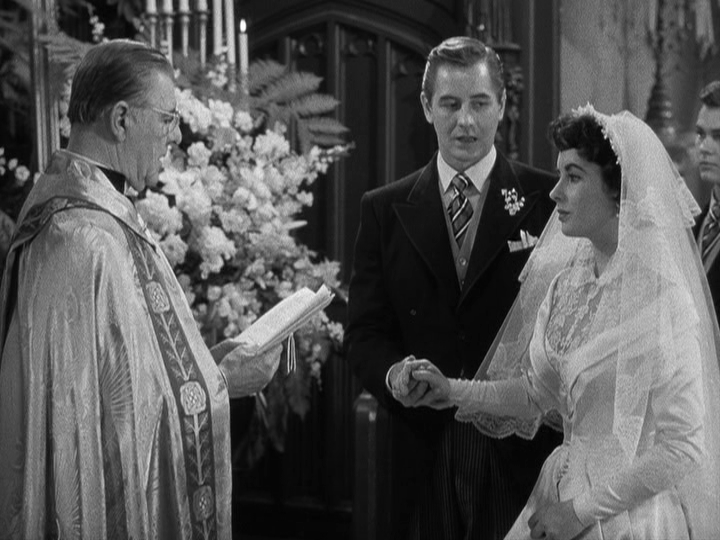 Buckley (Don Taylor) and Kay (Elizabeth Taylor) get married in Father of the Bride