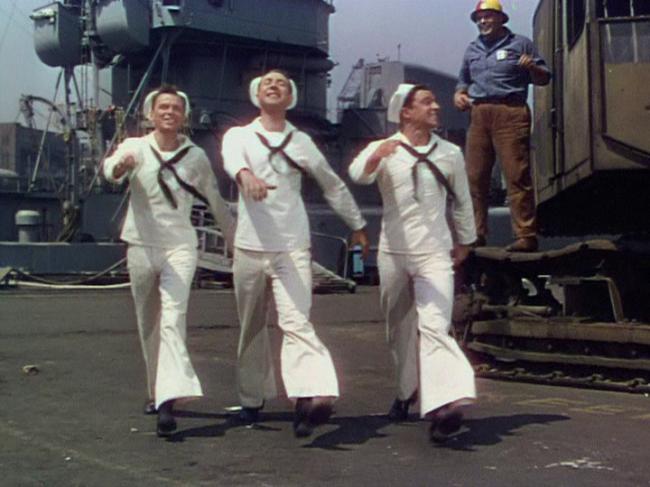 "Frank Sinatra, Jules Munshin, Gene Kelly start off on their New York adventure in ""On the Town"""