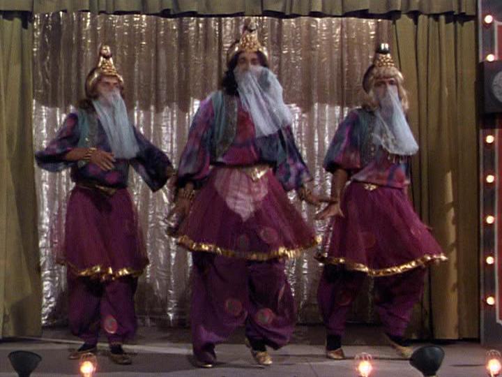 Frank Sinatra, Jules Munshin, Gene Kelly perform a harem dancein On the Town